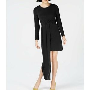 Bar III Asymmetrical Black Dress Long Sleeve LBD